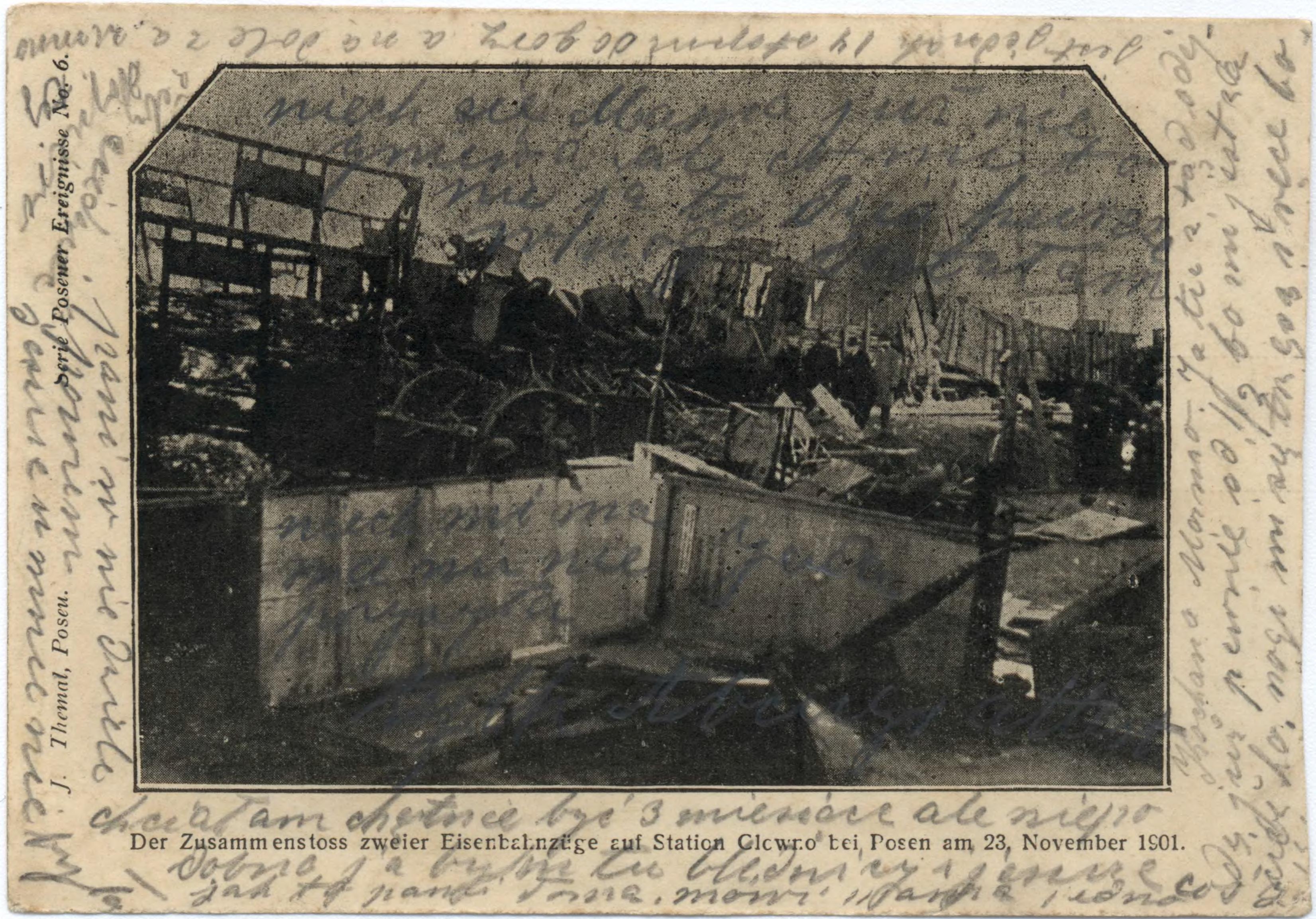 Dworzec kolejowy Glowno (dziś Poznań Wschód) – katastrofa kolejowa. Pocztówka z ok. 1901 roku