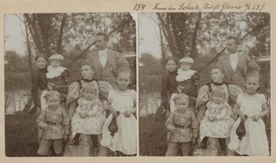Familie Schiek. Ausflug nach Glowno 16.06.1895. Rodzina Schiek na wycieczce na Głównej pod Poznaniem. Kolekcja fotografii stereoskopowych Kurta Emmericha (fot. nr 154). Ze zbiorów Biblioteki Uniwersyteckiej w Poznaniu.