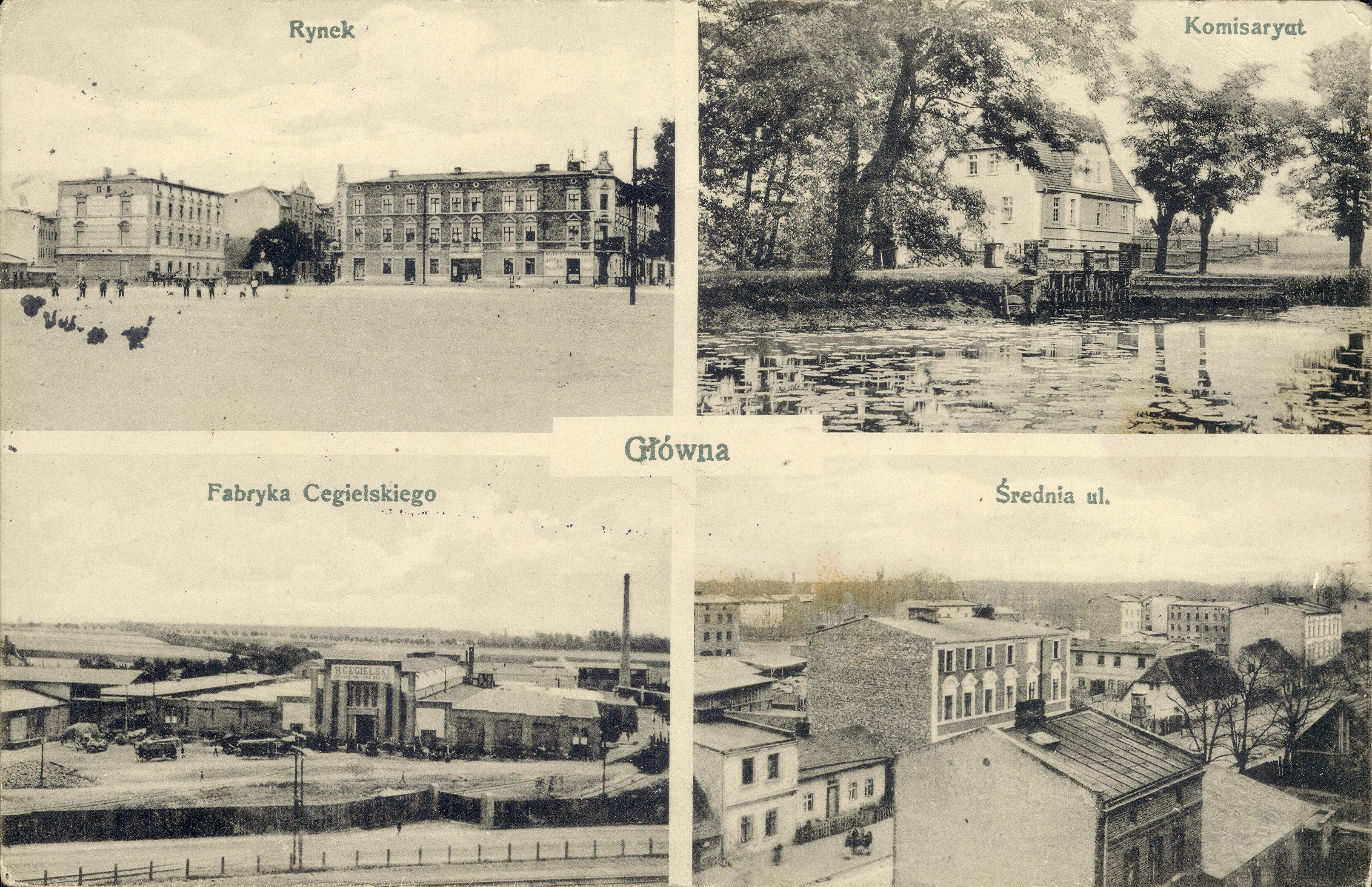Główna. Czteroobrazkowa karta pocztowa z widokami Głównej