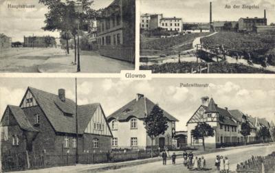 Glowno. Trzyobrazkowa karta pocztowa z widokami Głównej. [1] Hauptstrasse (ulica Główna, po lewej stronie widoczny fragment Rynku Wschodniego); [2] An der Ziegelei (Cegielnia); [3] Pudewitzerstrasse (ul. Pobiedziska, dziś: ulica Gnieźnieńska) – kolonia Karlsbunne. Osiedle zostało wybudowane w 1906 roku z inicjatywy Deutsche Arbeiter-Wohnungsgenossenschaft (Niemiecka Robotnicza Spółdzielnia Mieszkaniowa), pomiędzy Pudewitzerstrasse (ul. Pobiedziską, dziś Gnieźnieńską), a rzeką Główną. Składało się z domów typu willowego dla majstrów i urzędników miejskich oraz podłużnego budynku wielorodzinnego wzdłuż ul. Gnieźnieńskiej, przeznaczonego dla robotników. W 1919 roku osiedle zostało zakupione przez Zakłady Cegielskiego. Ze zbiorów Biblioteki Uniwersyteckiej w Poznaniu