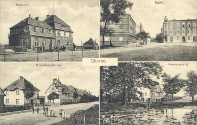 Glowno. Czteroobrazkowa karta pocztowa z widokami Głównej. [1] Bahnhof – dworzec kolejowy Glowno (dziś Poznań Wschód); [2] Markt – Rynek Wschodni, na drugim planie ulica Średnia, po lewej dom rodziny Pflaumów przy Mittelstrasse 1 (dziś: ul. Średnia); [3] Kolonistenhäuser – Kolonia Karlsbunne przy ul. Gnieźnieńskiej. Osiedle zostało wybudowane w 1906 roku z inicjatywy Deutsche Arbeiter-Wohnungsgenossenschaft (Niemiecka Robotnicza Spółdzielnia Mieszkaniowa), pomiędzy Pudewitzerstrasse (ul. Pobiedziską, dziś Gnieźnieńską), a rzeką Główną. Składało się z domów typu willowego dla majstrów i urzędników miejskich oraz podłużnego budynku wielorodzinnego wzdłuż ul. Gnieźnieńskiej, przeznaczonego dla robotników. W 1919 roku osiedle zostało zakupione przez Zakłady Cegielskiego; [4] Komissariat – tzw.
