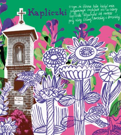 Mazanka kapliczki kolorowy obrazek kolaż zdjęcia i odręcznych rysunków