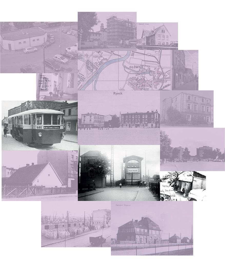 kolaż fotografii archiwalnych w kolorystyce czarno-białej oraz fioletowej