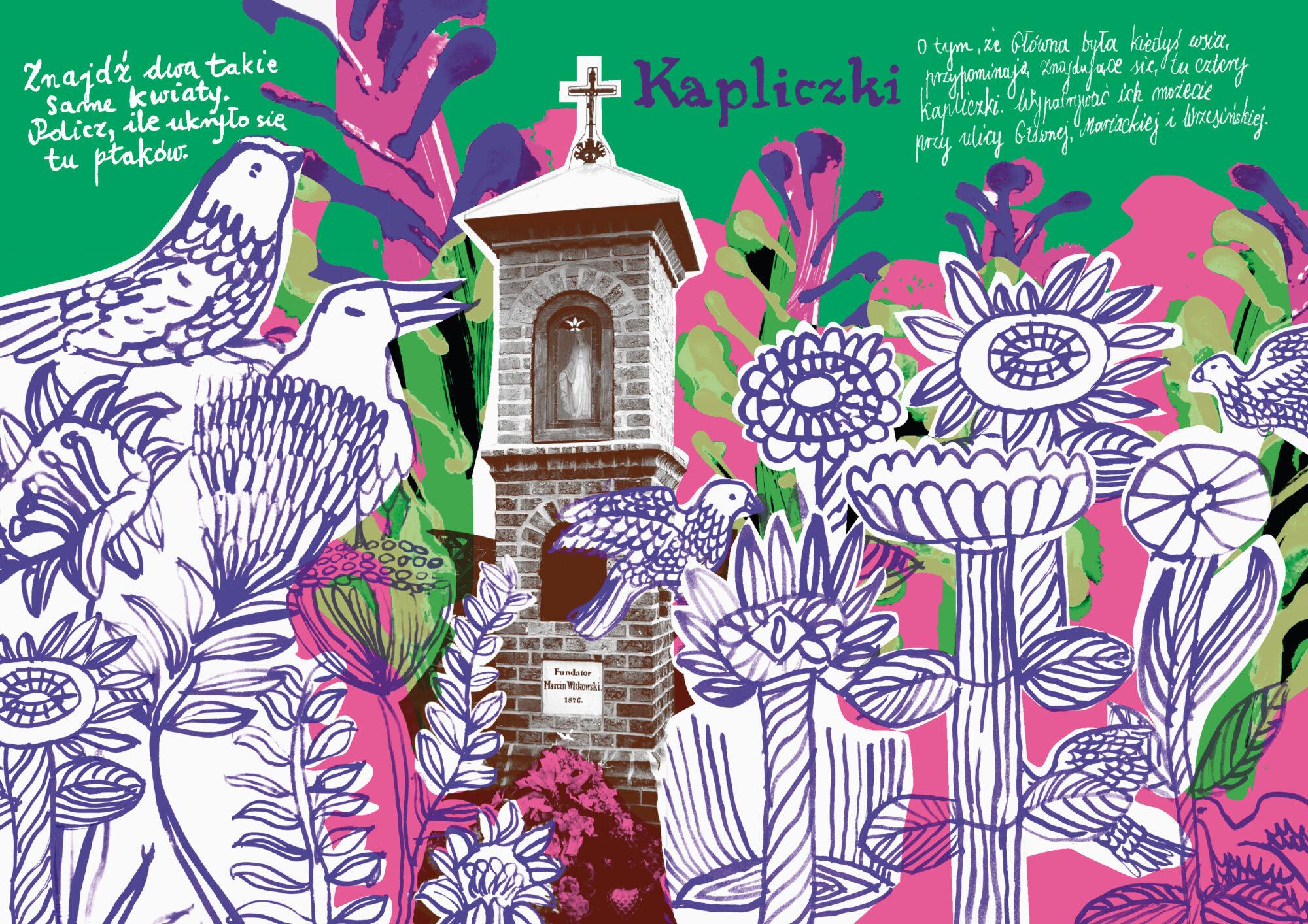 kolorowanka mazanka o kapliczkach na Głównej autorka Anna Kaźmierak