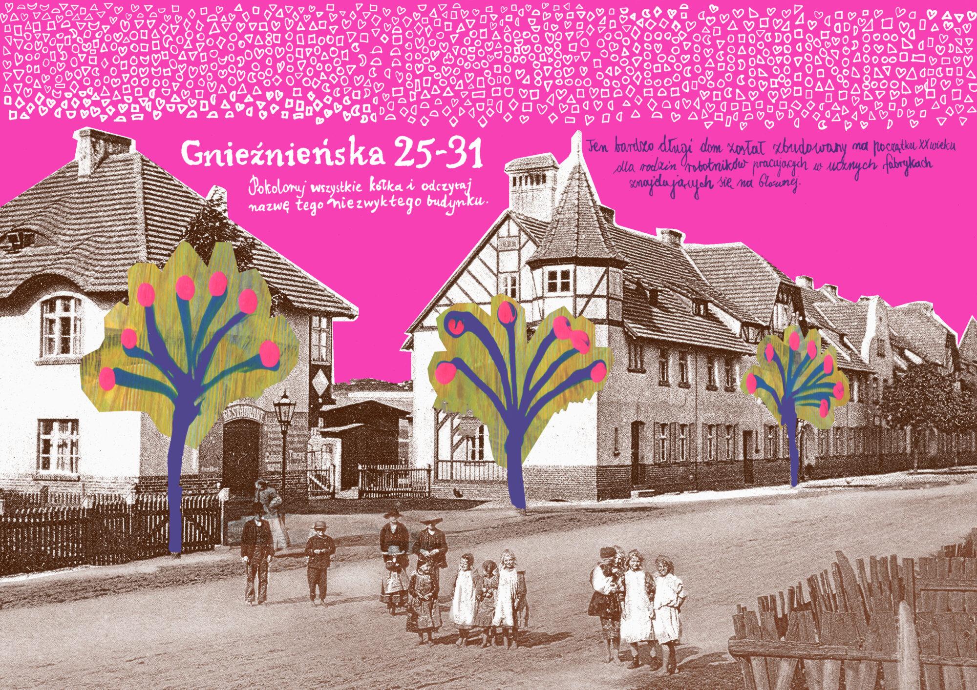 kolorowanka mazanka o budynku przy Gnieźnieńskiej 25-31 na Głównej autorka Anna Kaźmierak