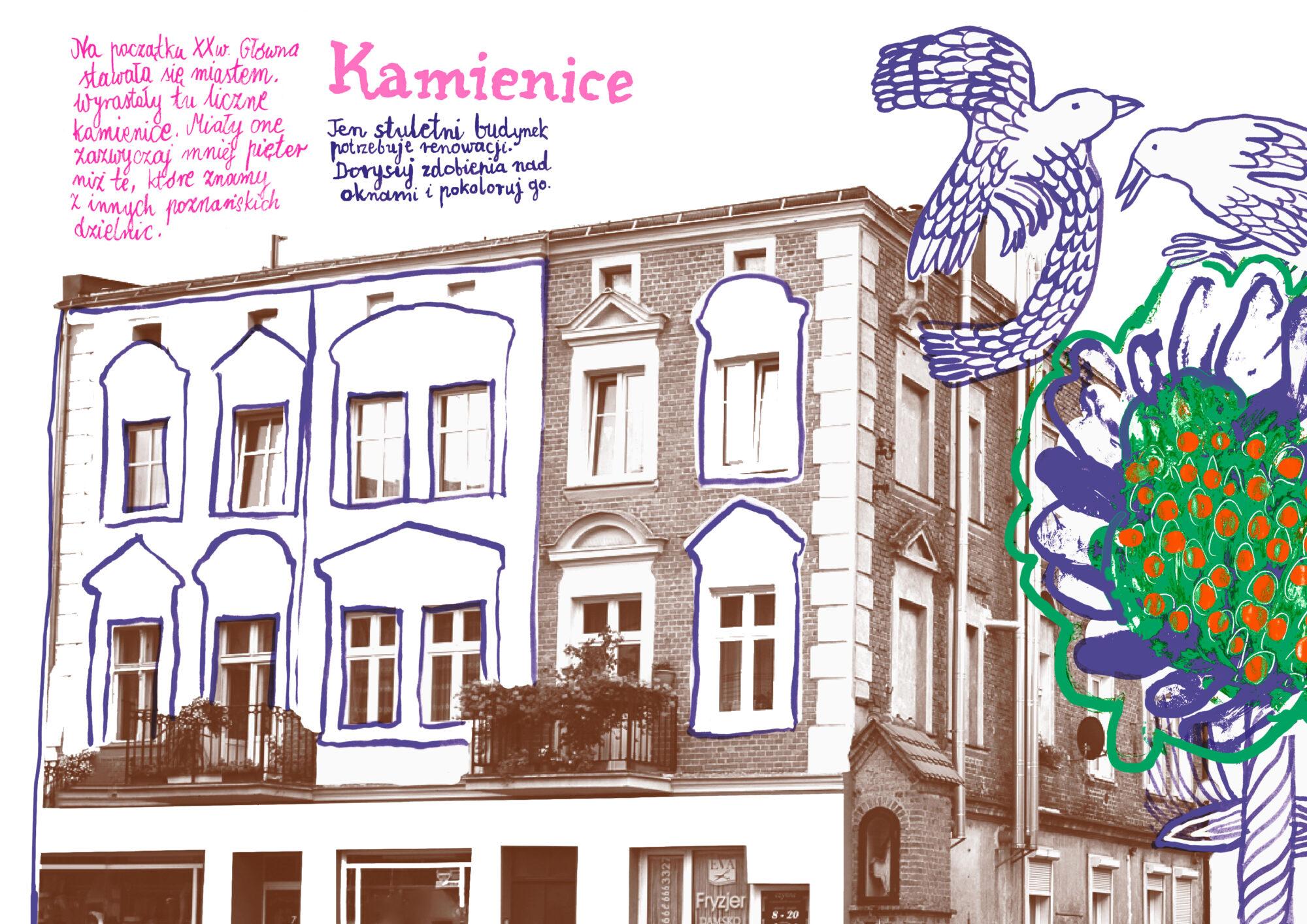 kolorowanka mazanka o kamienicach na Głównej autorka Anna Kaźmierak