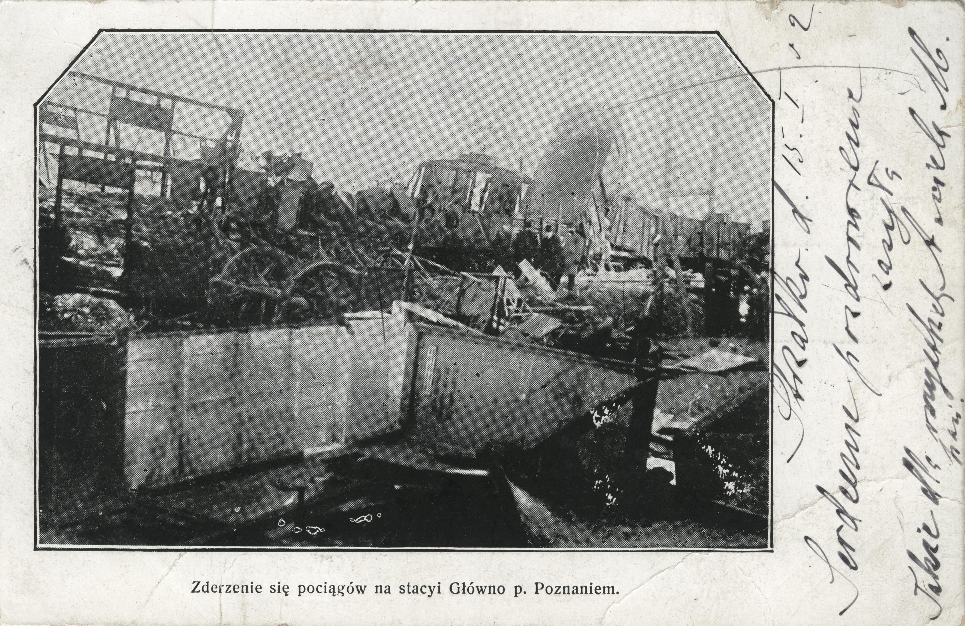 Zderzenie się pociągów na stacyi Główno p. Poznaniem