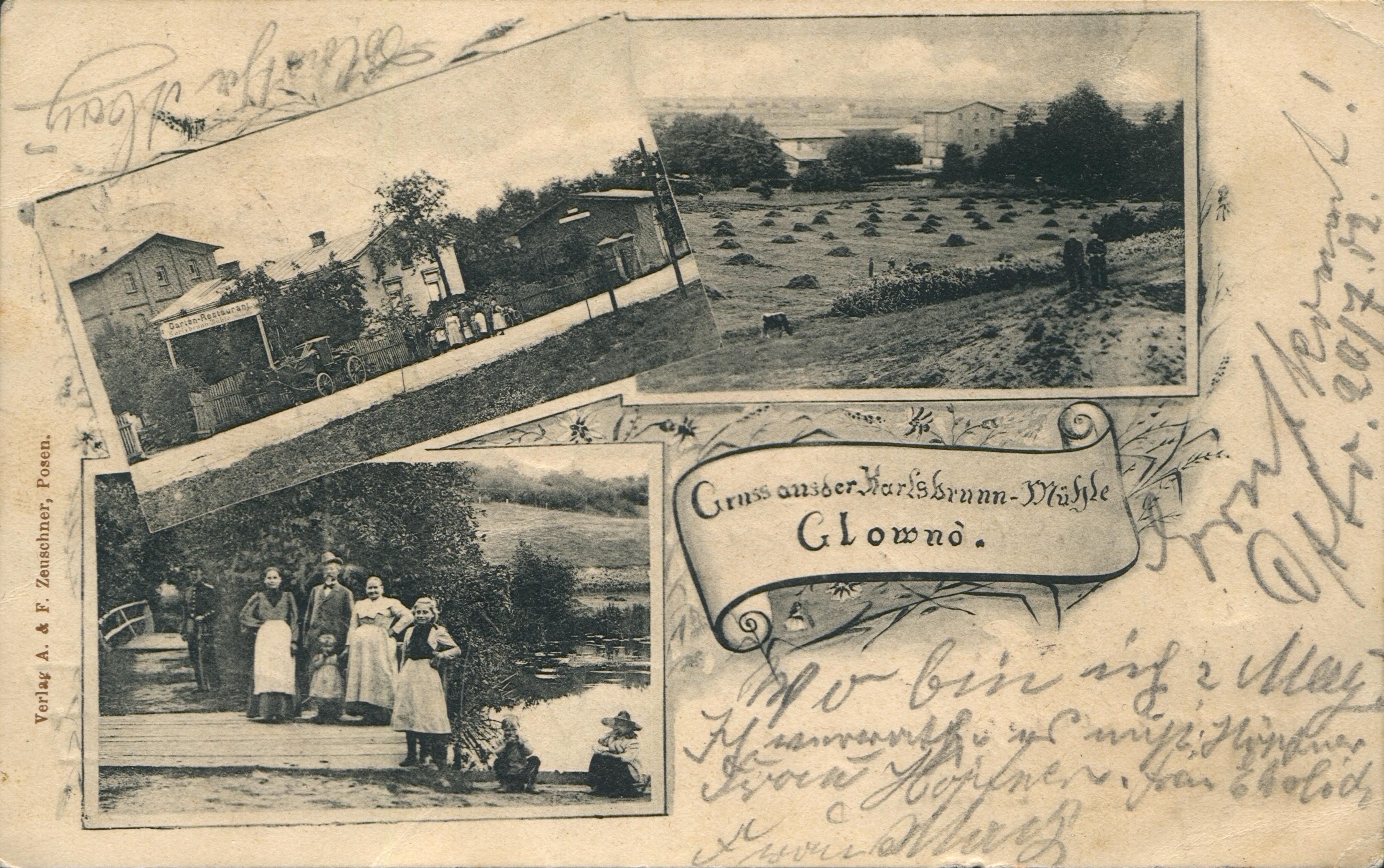 Gruss aus der Karlsbruun Mühle Glowno. Ze zbiorów Biblioteki Uniwersyteckiej w Poznaniu.
