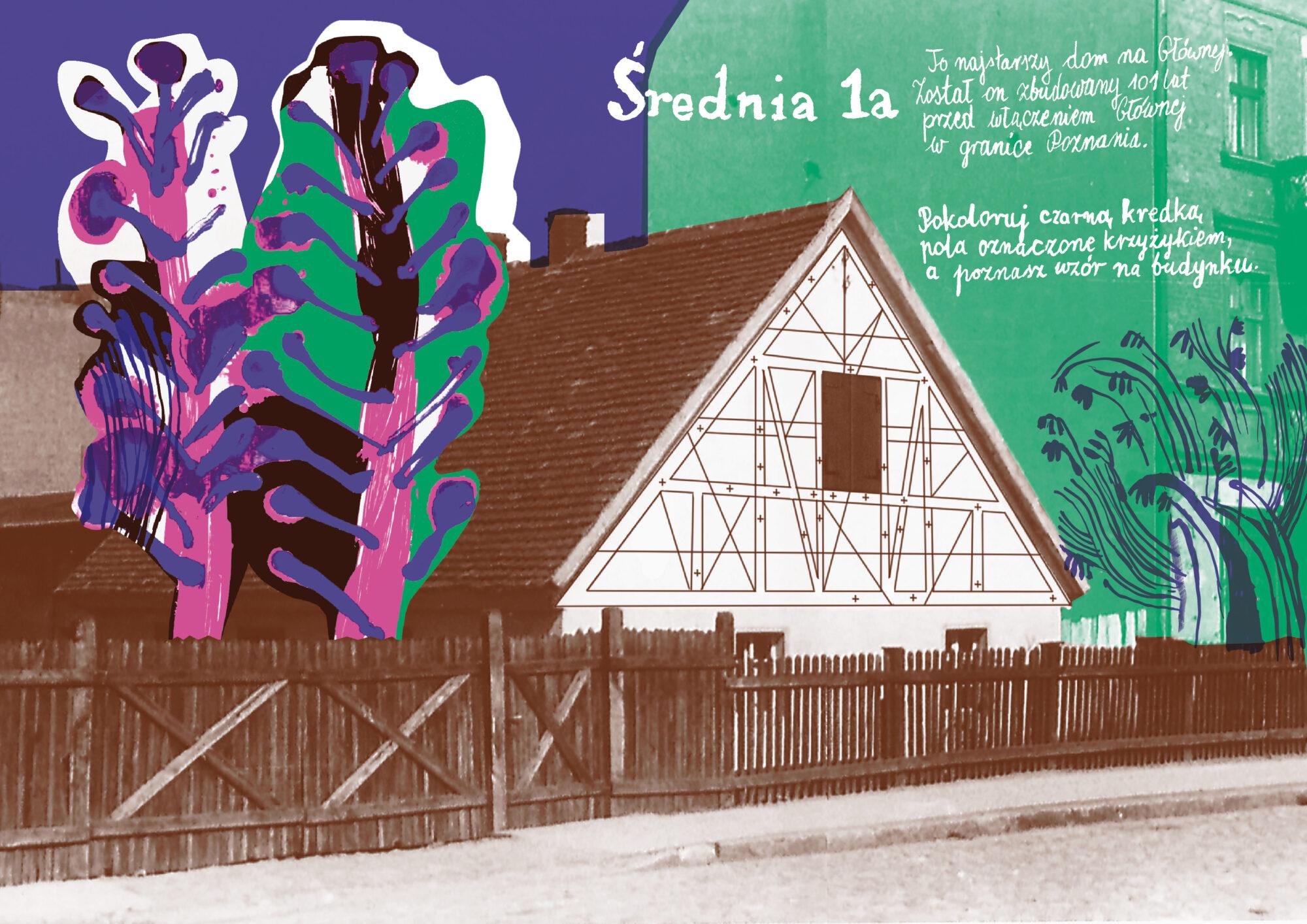 kolorowanka mazanka o budynku czy Średniej 1a na Głównej autorka Anna Kaźmierak